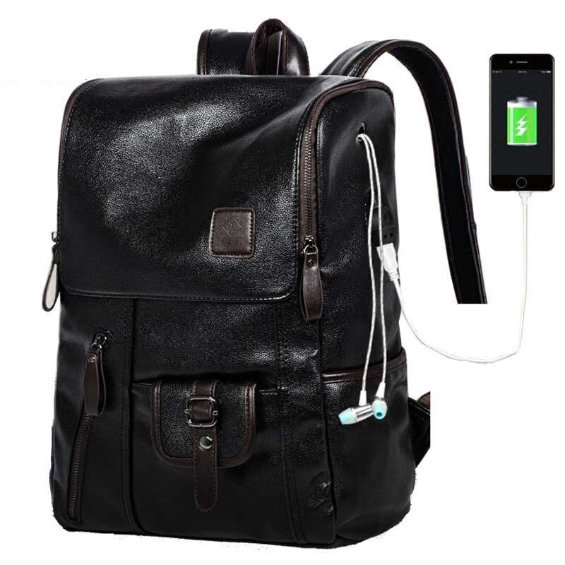 Travel Backpack Headphone-Jack Shoulder-Bag Usb-Charging Casual PU Multi-Pocket Men