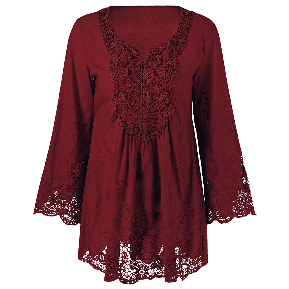 AZULINA Plus Size 5XL 4XL Women Lace Blouse Shirt Long Sleeve Loose Casual Vintage Female Red 2017 Spring Blusas Blouses Tops