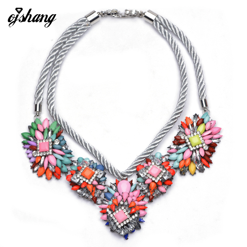 2016Vintage Luxury Necklaces Pendants Brand Silver Chain Crystal Choker Flower Necklace Chunky Statement Shourouk Necklace