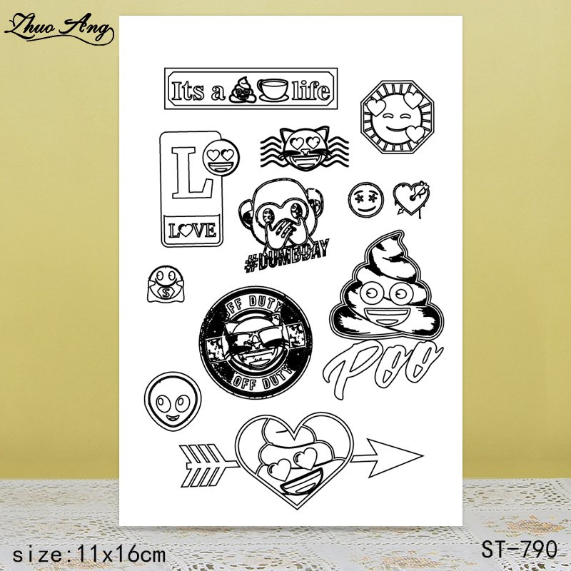 ZhuoAng Heart-shape Monkey Cat Clear Stamps/Seals For DIY Scrapbooking/Card Making/Album Decorative Silicon Stamp Crafts