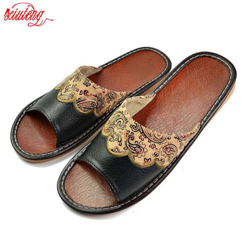 Xiuteng 2017 Summer Leather Men Slippers Home Indoor Flat With Shoes European High-Grade Non-Slip Floor Sandals For Men xiuteng 2017 summer leather men slippers home indoor flat with shoes european high grade non slip floor sandals for men