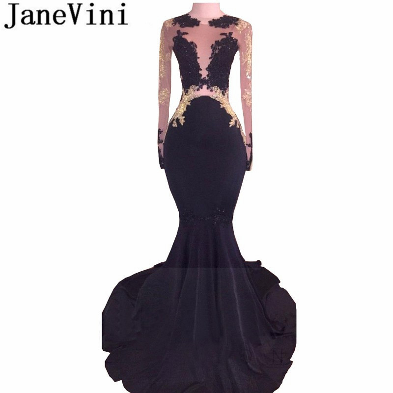 JaneVini Black   Prom     Dresses   2019 Long Sleeves Mermaid Beaded African Women Party Gown Elastic Satin Sheer Gold Lace Formal   Dress