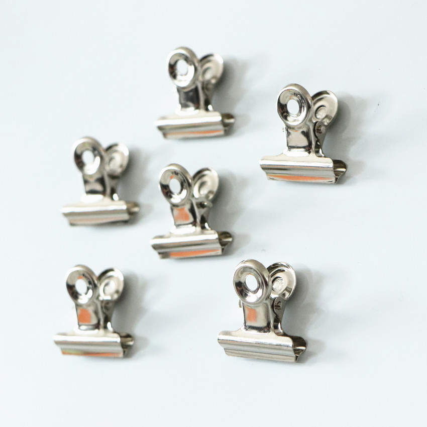 6pcs 22mm 30mm Magnetic Round Metal Clip For Whiteboard Silver Bulldog Clip Stainless Steel Ticket Clip Stationery Office Supply