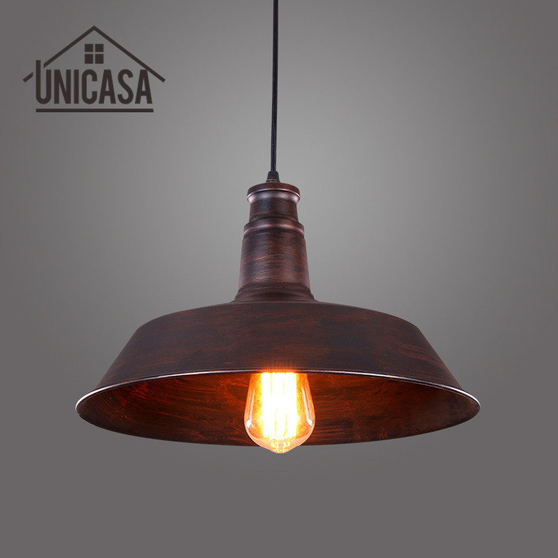 Brown metal shade pendant lights vintage industrial wrought iron brown metal shade pendant lights vintage industrial wrought iron lighting kitchen island modern ceiling fixture led ceiling lamp in pendant lights from aloadofball Choice Image