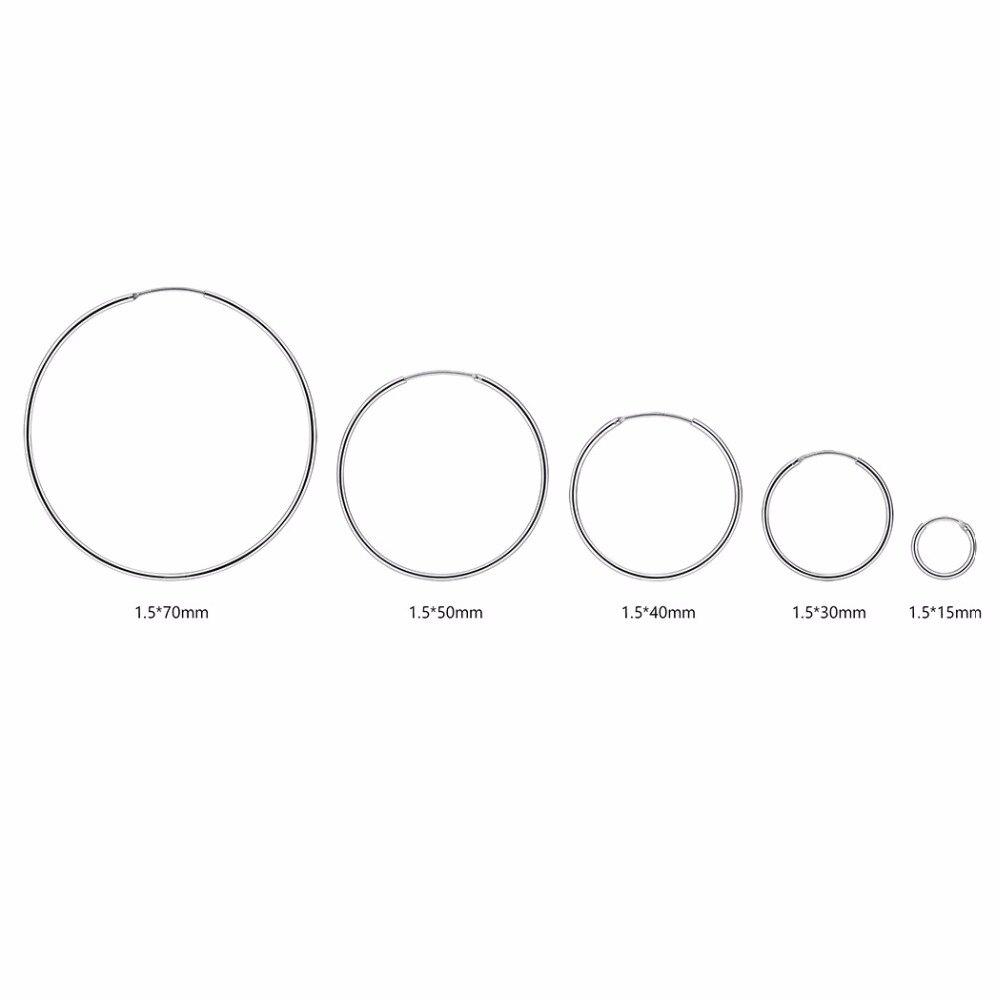 57020d40812fd US $7.98 40% OFF|Silver Hoop Earrings For Women 925 Sterling Silver  Small/Medium/Big Size 15/30/40/50/70mm Simple Hoop Earrings E6130B-in Hoop  ...