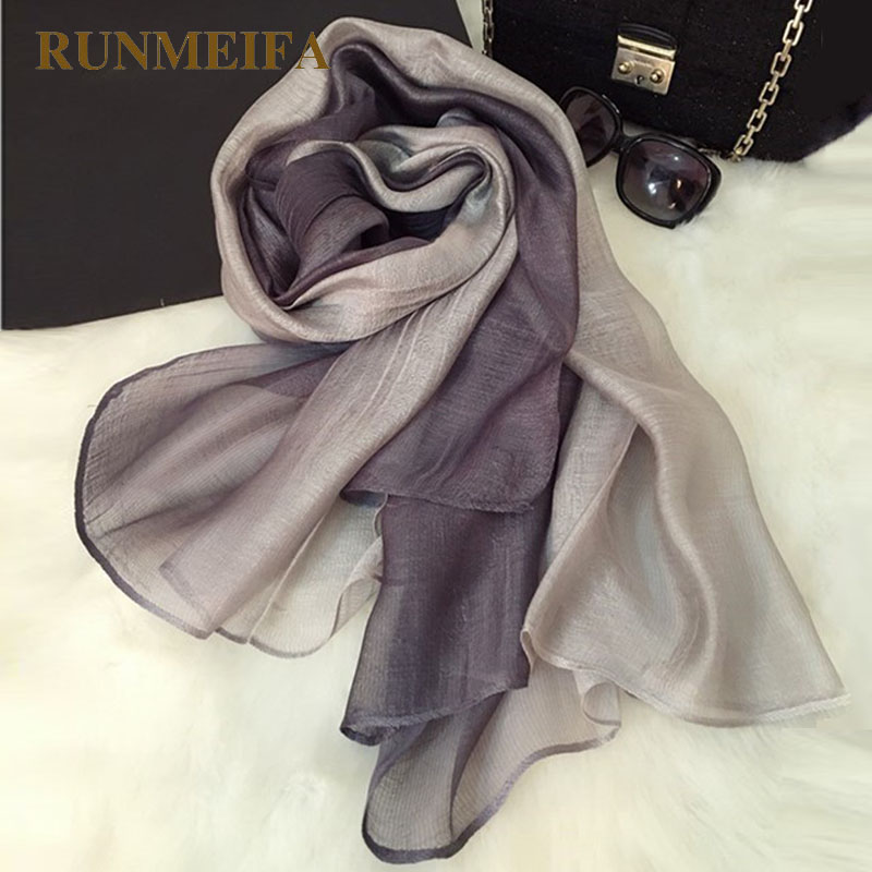 [RUNMEIFA] 100% Real Silk Scarves Wrap Shawl Hijab for Women Gradient Solid Color Long Fashion Muslim Foulard Female 190x65cm