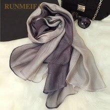 [RUNMEIFA] 100% Real Silk Scarves Wrap Shawl Hijab for Women