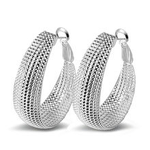Real 925 Sterling Silver Big Circle Punk Great Wall Pattern Hoop Earrings Club Party Jewellery For Women Wholesale Top Quality(China)