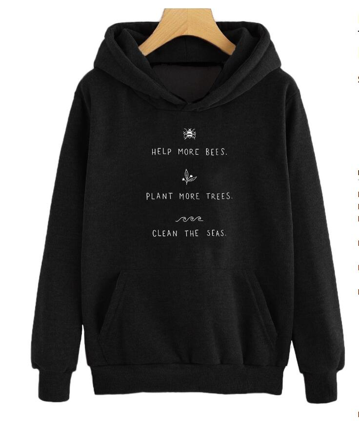 Help More Bees Sweatshirt Plant More Trees Hoodies Clean The Seas Pullover Save The Bees Slogan Graphic Jumper Gift Trendy Sweat