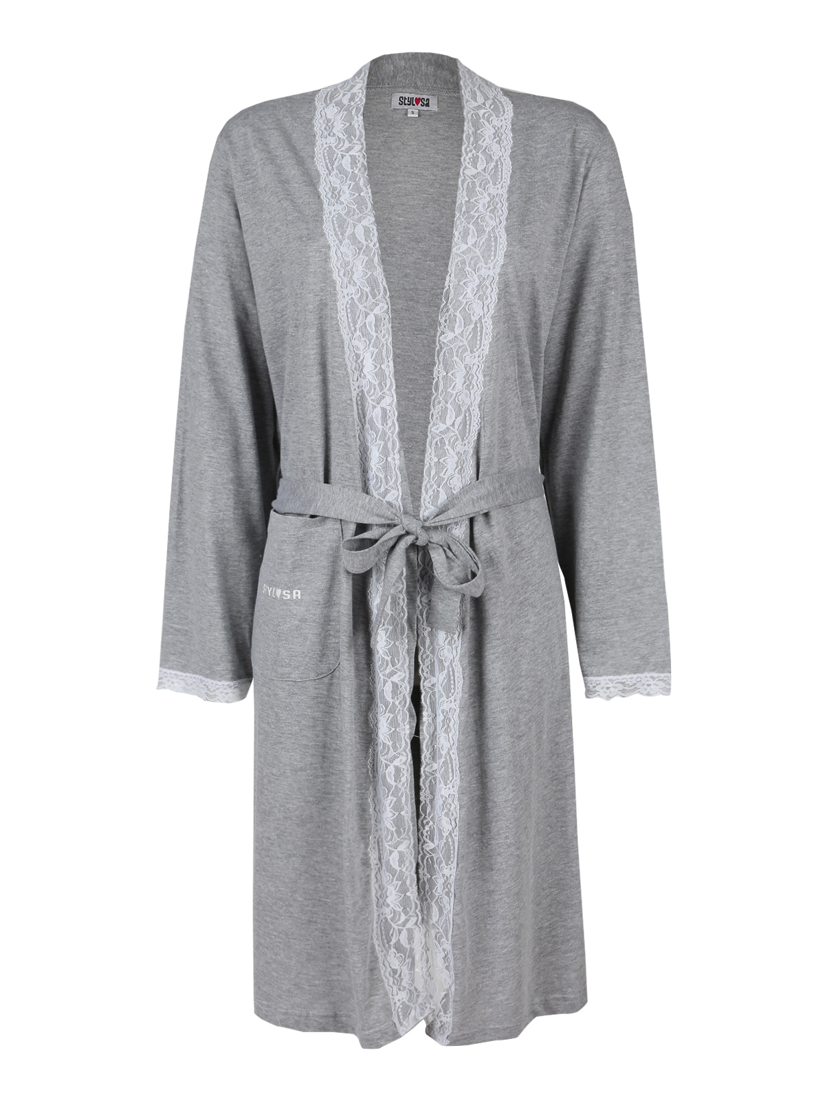 Robe With Lace-Gray