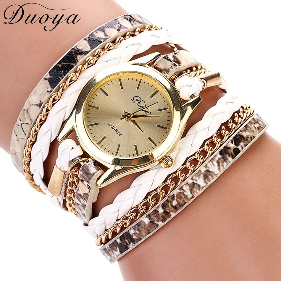 Duoya Brand Women Dress Watch Leather Leopard Bracelet Wristwatch Fashion Gold Chain Snake Weave Ladies Luxury Quartz Watch