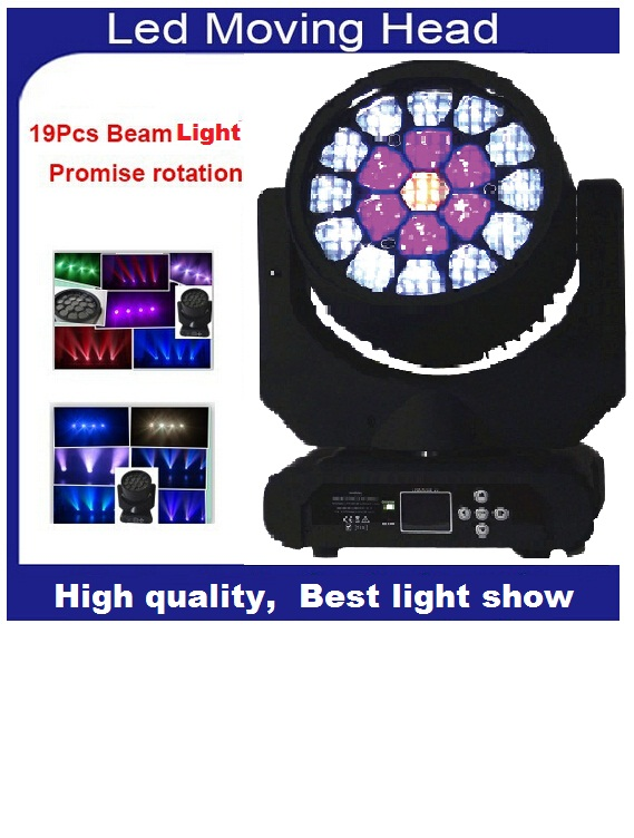DHL Sharpy Zoom Bee Eye LED Beam Wash Moving Head Light  Cree Led Lamp 4in1 RGBW 19x15W Professional Strobe Disco LightingDHL Sharpy Zoom Bee Eye LED Beam Wash Moving Head Light  Cree Led Lamp 4in1 RGBW 19x15W Professional Strobe Disco Lighting
