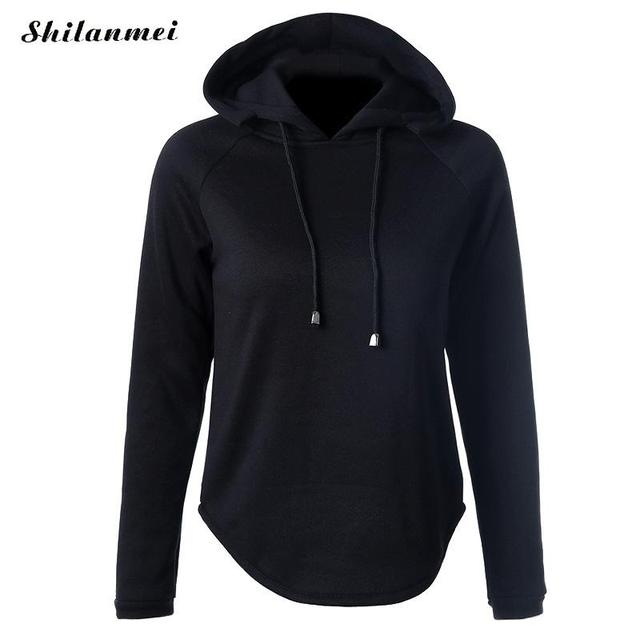 fc90d5ca Black Sweatshirts Women Long Sleeve Patchwork Tops Tumblr Curved Hem Hoodies  Casual Sweat Females Pullover Outwear Autumn Coat