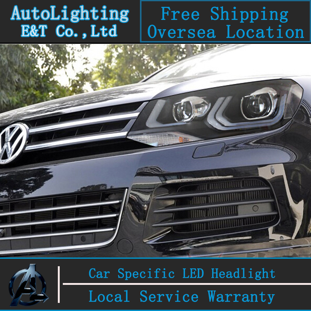 Car styling Head Lamp for VW Toureg led headlight assembly 2013-2014 Double Angel eye led drl H7 with hid kit 2 pcs.