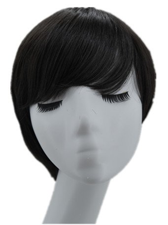 Black Wig Fei-Show Synthetic Short Wavy Hair Heat Resistant Fiber Male/Female Halloween Costume Cosplay Inclined Bangs Hairpiece