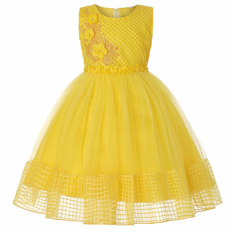 Flower Girls Dress With Ribbon Belt Charming Lace Bow Back Girls Evening Prom Dresses Girl Embroidered Party Banquet Dress
