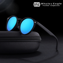 Whale&Eagle Oval Sunglasses Classic Cat Eye Cool Driver Polarized Red Coated Lens Brand Design Men