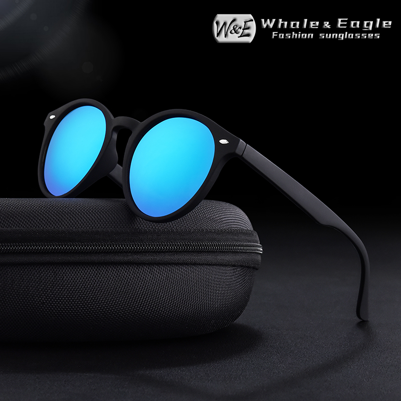 Whale&Eagle Oval Sunglasses Classic Cat Eye Cool Driver Polarized Red Coated <font><b>Lens</b></font> Brand Design Men Women Sun Glasses UV400 image