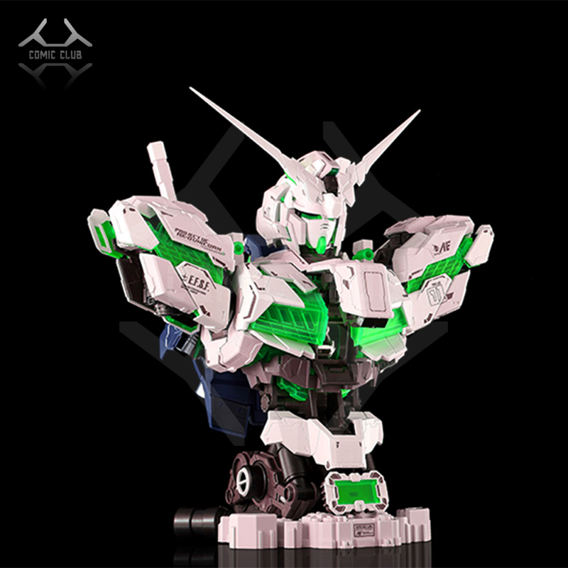 COMIC CLUB INSTOCK YIHUI model assembly Gundam unicorn green bust model 1 35 contain led light