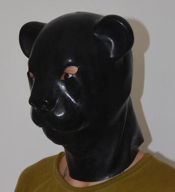 (LH03) Fetish Latex full head latex pig dog cat leopard head slave - Disfraces - foto 4
