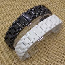 Новый 16 мм 21 мм часы браслет ремешок для часов керамика часы группа прямой конец общий мода аксессуары алмазные белый черный