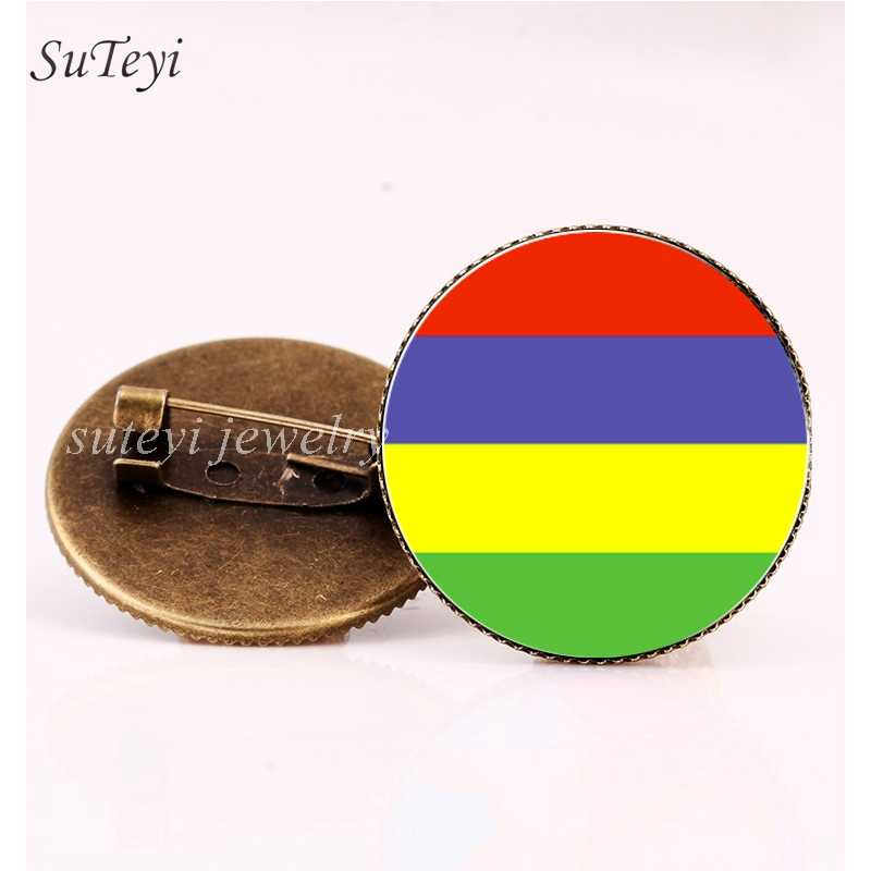 SUTEYI Países Africano Único Broche Da Bandeira Ruanda/Madagascar Malawi Emblemas Pinos Broche/Mali/Maurício Rodada Homens De Vidro jóias