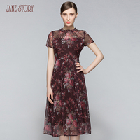 Jane Story 2017 summer women dress chiffon o neck thin floral red rose print vintage office lady dress party elegant OL style