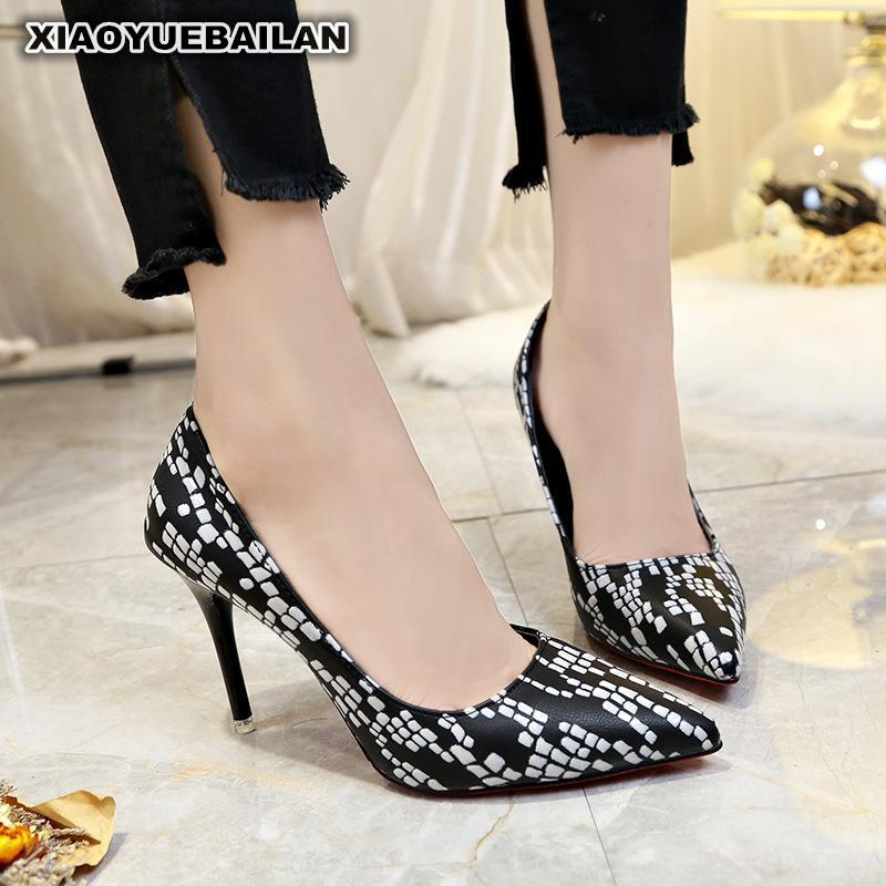 2018 New Sexy Sharp Snakes High Heel Shoes European American Shallow Single Lady 9
