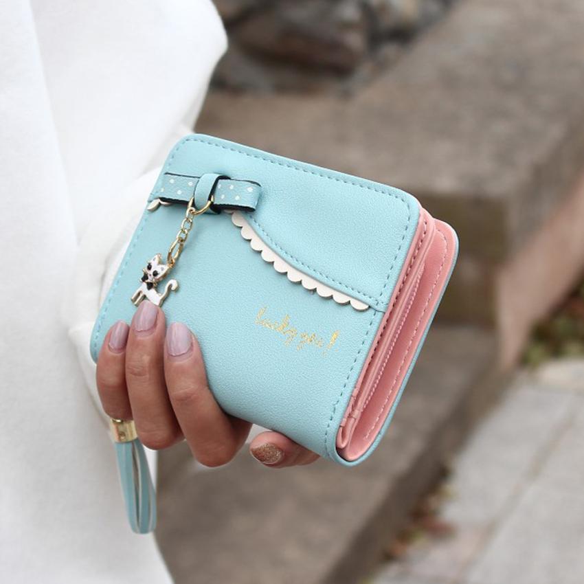 2020 carteras mujer Women Wallets Lady Fashion Cat pendant Mini Grind Magic Bifold Leather Wallet Women's Card Holder Purse