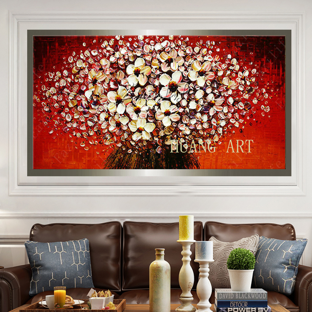 Large deformation of thick modern hand paint palette multiple color knife flower painting canvas wall art home sitting room art in Painting Calligraphy from Home Garden