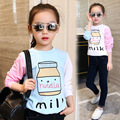 little teenage girls t-shirt character girls tops blue white pink patchwork tees girl tshirt 2016 spring autumn kids clothes