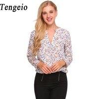 Tengeio Boho Blouses 2017 Women Fashion Casual V Neck Long Sleeve Blouse Floral Print Shirt Chiffon