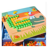 Mideer children mosaic nail mushrooms nails wooden puzzle cartoon toy desktop toys
