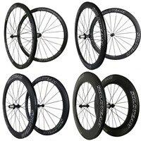 화이트 + 블랙 38mm 45mm 50mm 60mm 88mm 탄소 바퀴 700c 23/25mm 탄소 자전거 바퀴 도로 자전거 탄소 wheelset