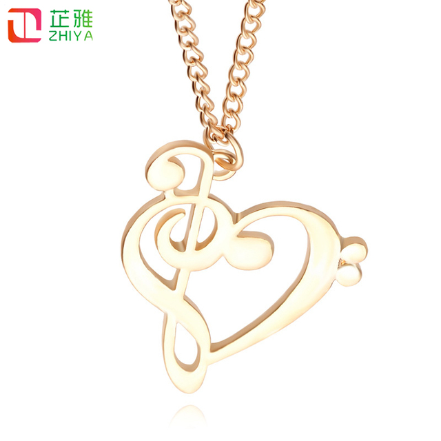 2018 Women New Love Hearts Necklace Fashion Hollow Music Symbols
