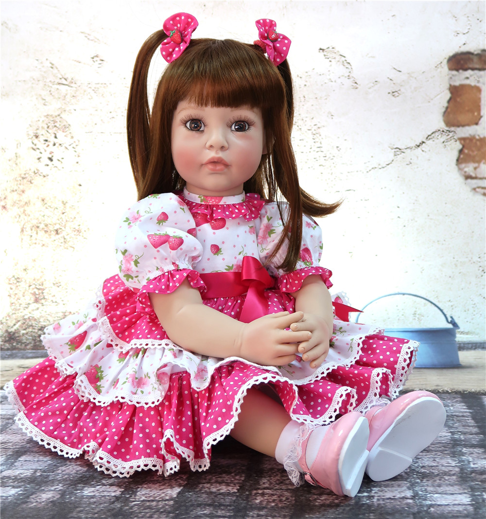 Unique 58cm Silicone Body Reborn Baby Doll Toy Realistic Sweet Newborn Princess Babies Doll With 0 3m Skirt Real Girl Bathe Toy