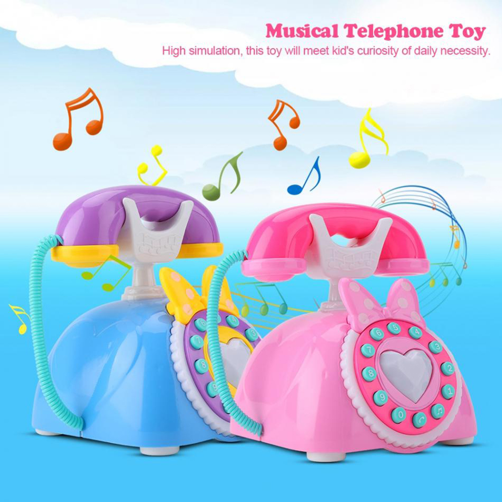 Kid Simulation Plastic Telephone Toy Children Educational Gift Kids Electric Music Phone Pretend Play Sound Learning Musical Toy