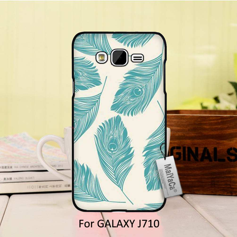 Pu leather case for samsung galaxy a7 2016 a710 peacock feather - Luxury Fashion Black Phone Case For J7 2016 Case Beautiful Mint Green Peacock Feathers China