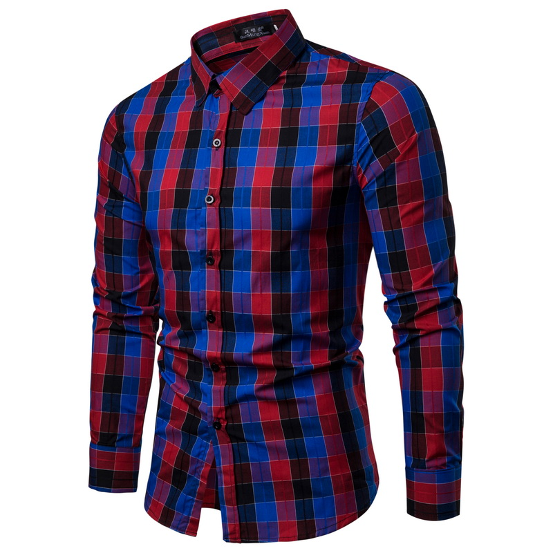 WSGYJ Men Plaid Shirt Long Sleeve Shirts 2019 Fashion Casual Multi-color Checkered Cotton Chemise Homme