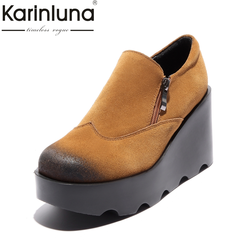 KARINLUNA Genuine Leather 2018 Size 34-39 Platform Women Shoes Woman Black Wedge High Heels Round Toe Zip Up Woman Pumps big size high heels round toe women platform shoes cool casual white lace wedge black creepers medium pumps mesh chinese fashion