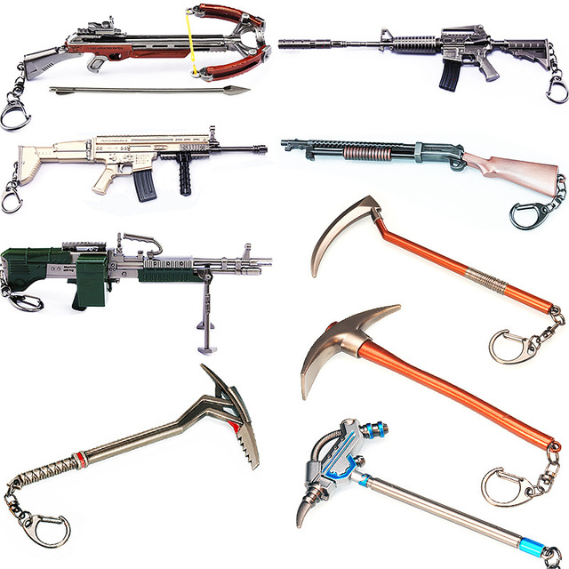 Fortnight Action Figure Pickaxe M4 Rifle Weapon Keychain Alloy