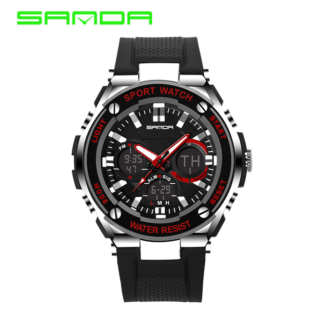 Relojes de Lujo de Los Hombres SANDA Deporte Led hombres Reloj Militar 50 M Impermeable Analógico de Cuarzo Reloj Ocasional Del Relogio masculino 2016