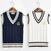 2019 School Uniform Sweaters Vest For Girls Boys British Student Uniforms Embroidery V neck Vest Sweaters Tank Top new