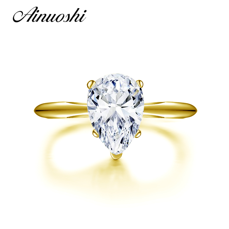 все цены на AINUOSHI 10k Solid Yellow Gold Wedding Rings 2 Carat Simulated Diamond Anillos Mujer Pear Cut Wedding Ring for Women Engagement