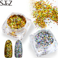 1g/Pcs Dazzling Nail Glitter Powder Holographic Mini Gold Silver Cololr Paillette Sparkling Shape Nail Art Thin Sequins Tip 040T