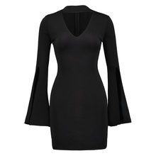 bandage dress women halter long flare sleeve splited knitted bandage dress black above knee mini bodycon