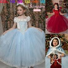 Frozen Princess Girl Tulle Cloak Costume Party Flowers kids dresses For Girls tutu dress Anna Elsa Snow Queen Girl dress