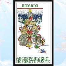 Joy Sunday,Christmas dogs,cross stitch embroidery set,printing cloth embroidery kit,needlework,Animal picture cross stitch joy sunday merry christmas cross stitch embroidery set printing cloth embroidery kit needlework diy christmas cross stitch