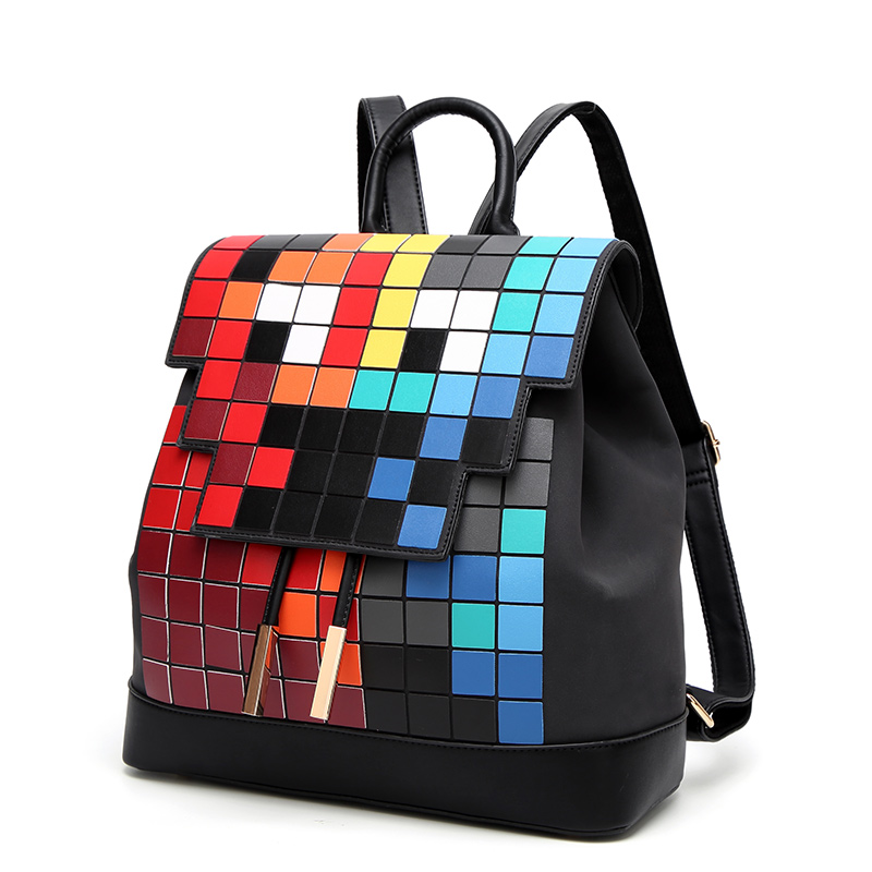 New Women Colorful Plaid Mosaic Backpack Rainbow Magic Cube Female Fashion Girl Daily Backpack Geometry Package School Bag new mf8 eitan s star icosaix radiolarian puzzle magic cube black and primary limited edition very challenging welcome to buy