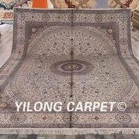 Yilong 9'x12' Handmade Turkish Medallion Rugs Antique Persian Silk Carpets(LH168A9x12)